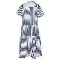 Lacy Stripe Shirt Dress -  blue