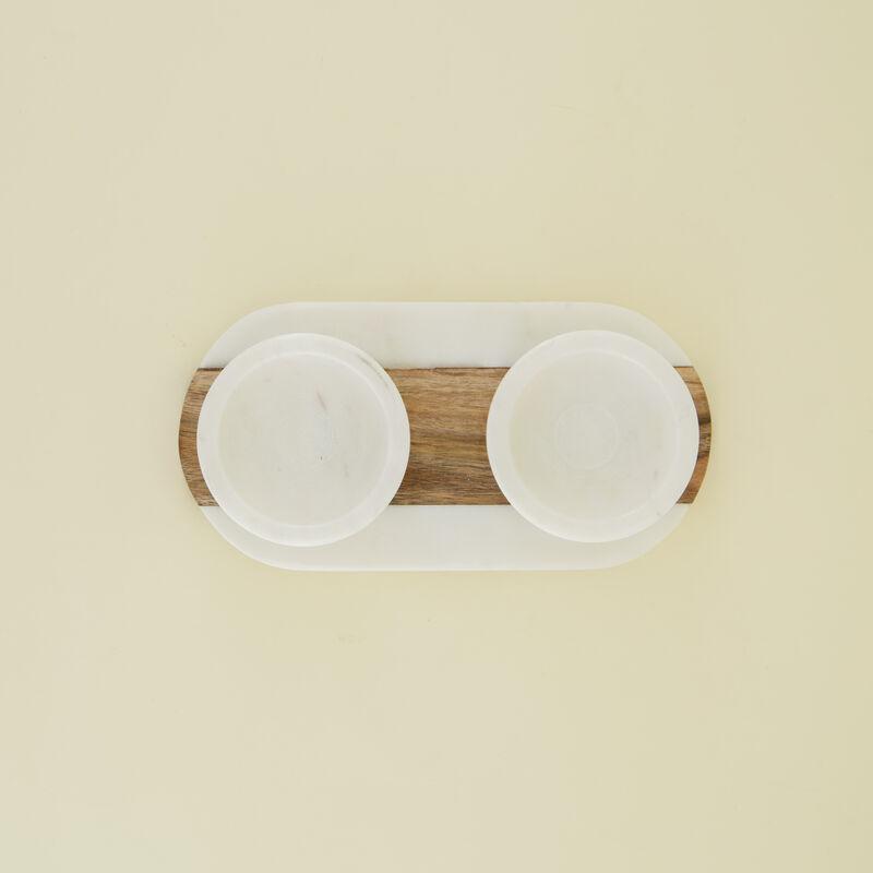White Marble & Wood Tapas Bowl Set -  white-brown