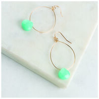 Teardrop & Stone Drop Earrings -  gold-teal