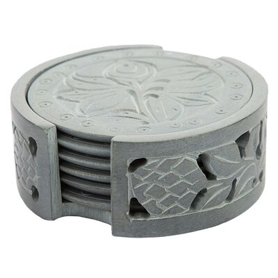 Carved Soapstone Coaster Set