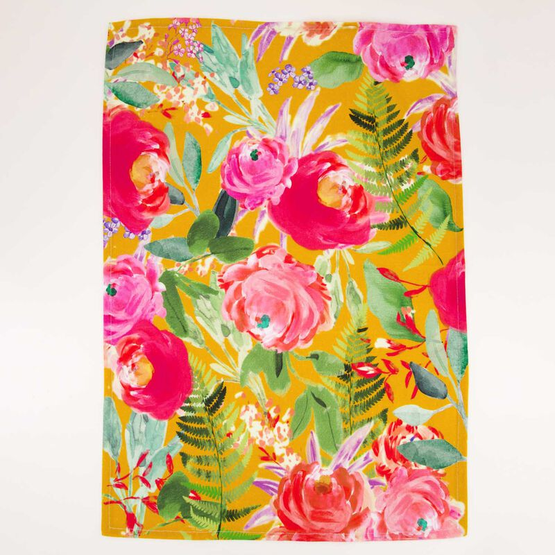 2-Pack Blooms & Ochre Waffle Tea Towels -  assorted