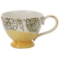 Ochre Floral Mug with Gold Detail -  ochre-gold