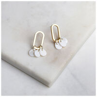 Oval Shell Disc-Drop Earrings -  gold-milk
