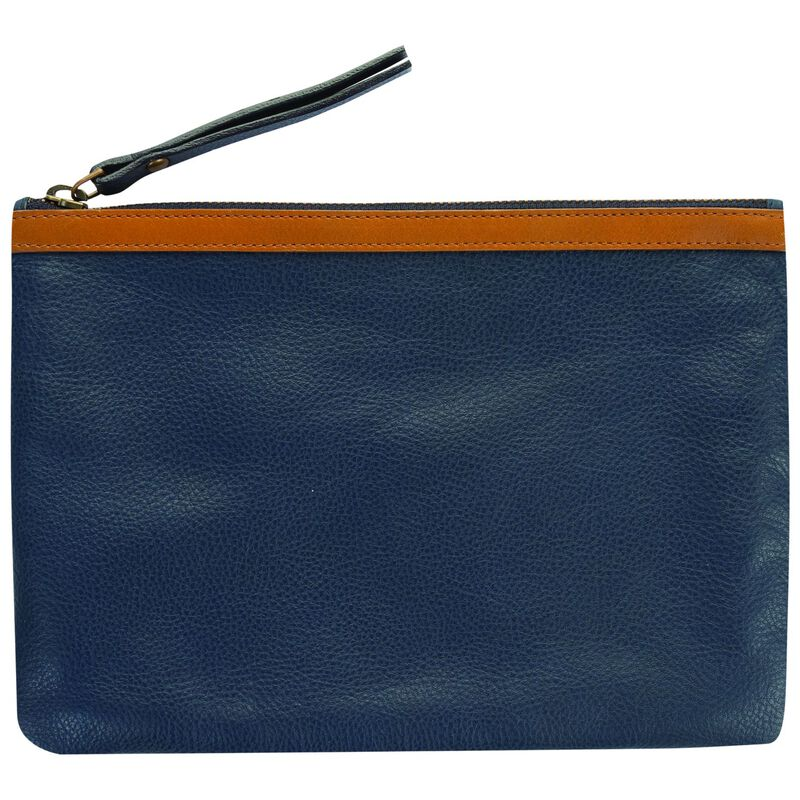 Taylor Leather Pouch -  navy-tan