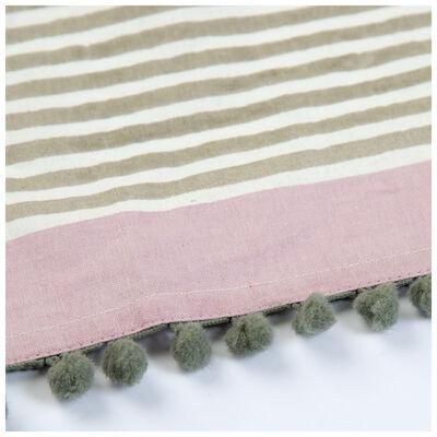 Stripe Teatowel with Pompom Detail