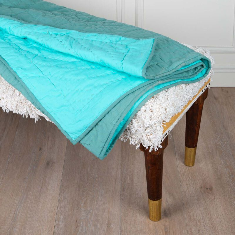Green Two-Toned Quilted Throw -  green