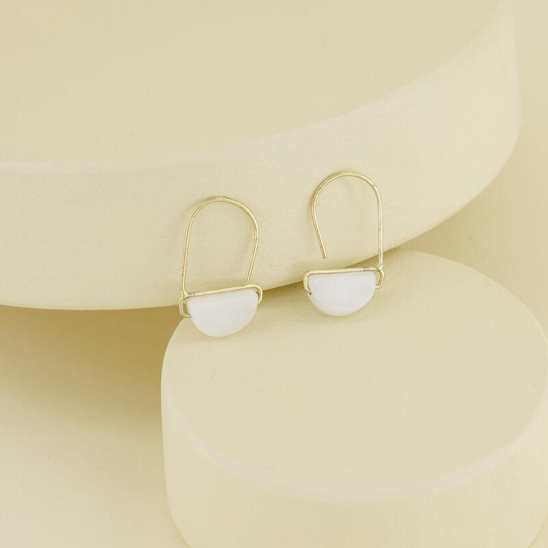Stone Wedge Mini Hoop Earrings -  gold-milk