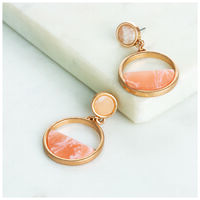 Double Circle Drop Earrings -  gold-peach