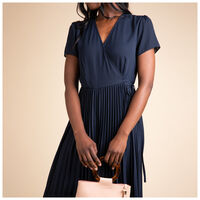 Sofia Pleated Wrap Dress -  navy