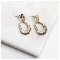 Metal Drop Earrings -  gold