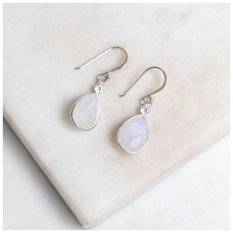 White Moonstone & Silver Teardrop Earrings -  silver-white