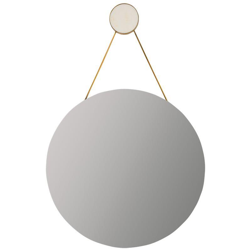 White Marble Round Mirror -  white-gold