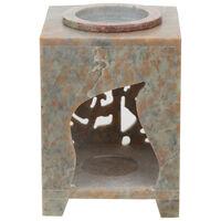 Square Soapstone Oil Burner -  black-brown