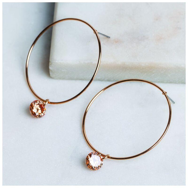Minimalist Crystal Hoop Drop Earrings -  gold-nude
