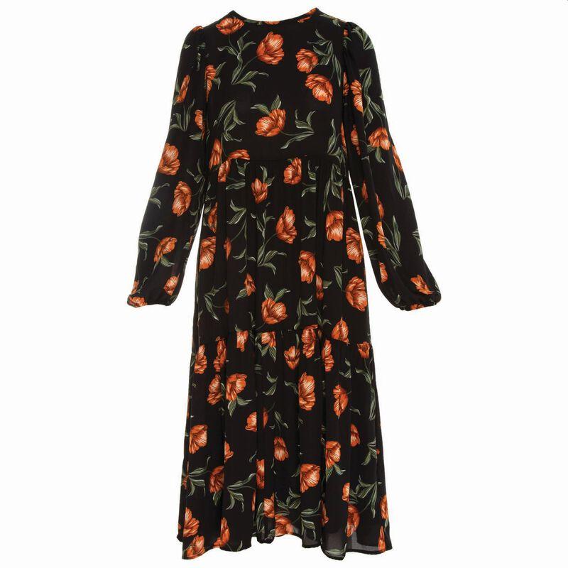 Helena Floral Maxi Dress  -  black