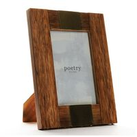 Wood & Brass Photo Frame -  brown-gold