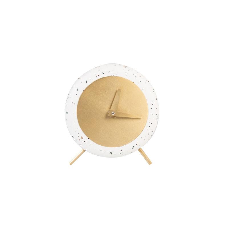 Terrazzo & Brass Clock -  white-gold