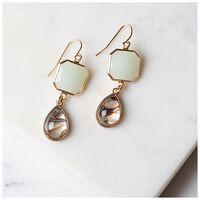 Shell & Natural Stone Drop Earrings -  green