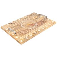 Carved Rectangular Serving Tray -  brown