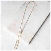 Linear Stone & Pearl Layered Necklace -  gold