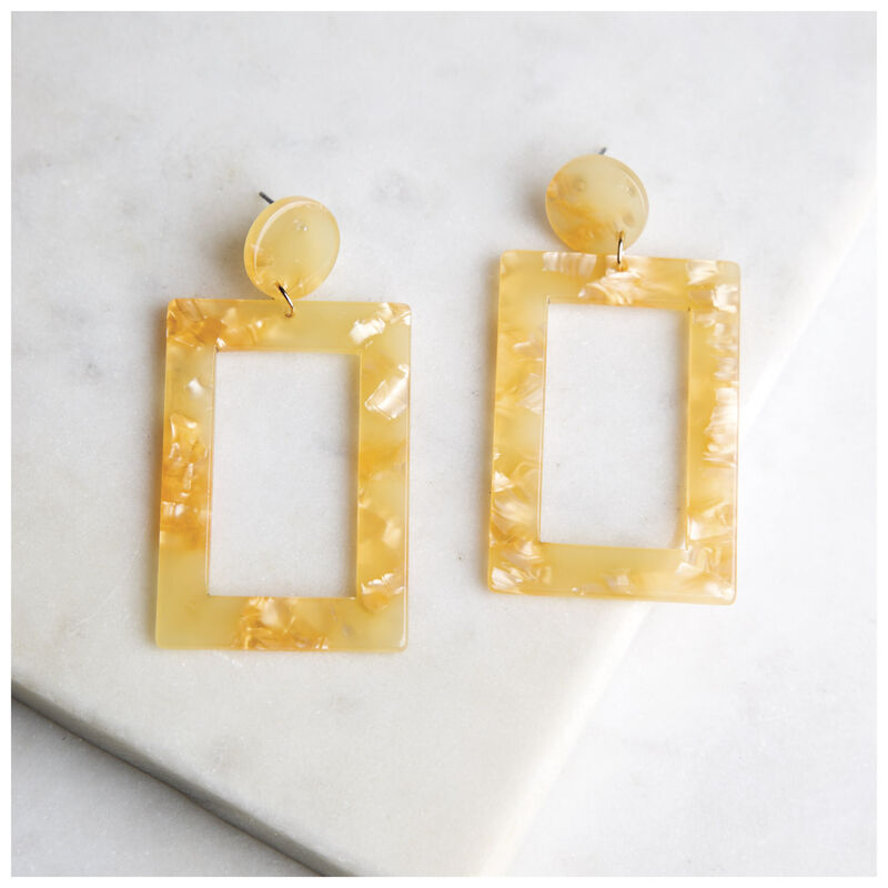Long Rectangular Resin Earrings -  yellow