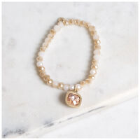 Glass Beaded Bracelet -  gold-nude