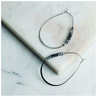 Oval Beaded Hoop Earrings -  silver-blue