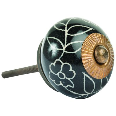 Black Leaf Floral Knob