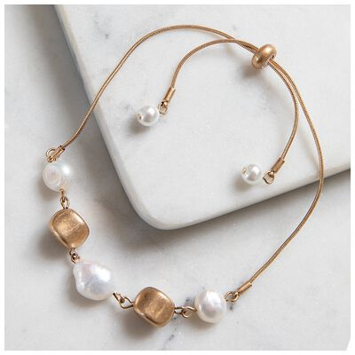 Ajustable Pearl and Bead Bracelet