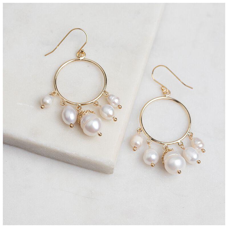 Freshwater Pearl Drop Hoop Earrings -  gold-cream