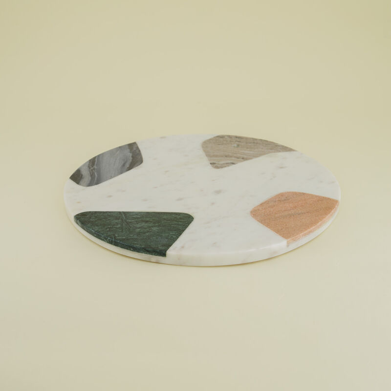 Round Abstract Marble Serving Board -  assorted
