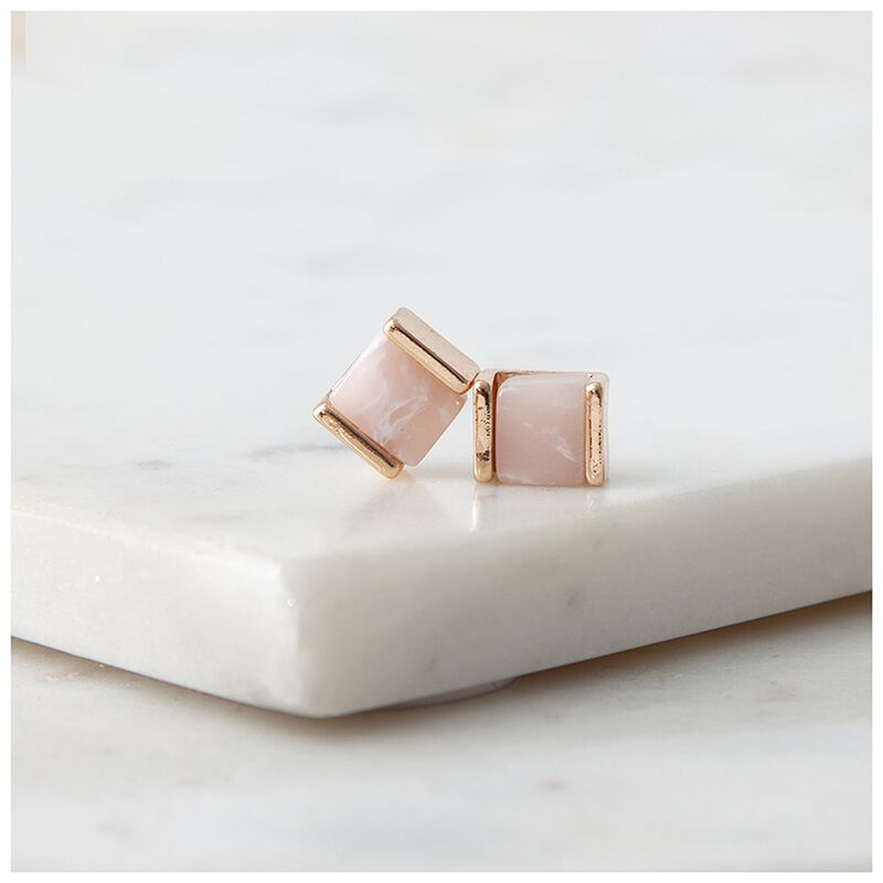 Real Stone Stud Earrings -  gold-pink
