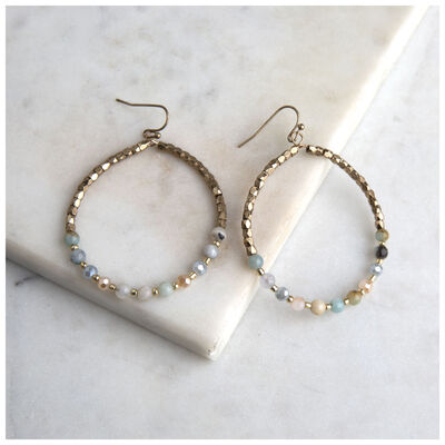 Bead & Stone Hoop Earrings