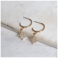 Star Charm Hoop Earrings -  gold