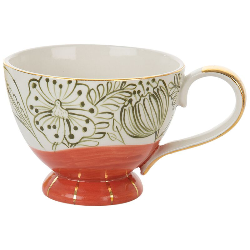 Red Floral Mug with Gold -  red-gold