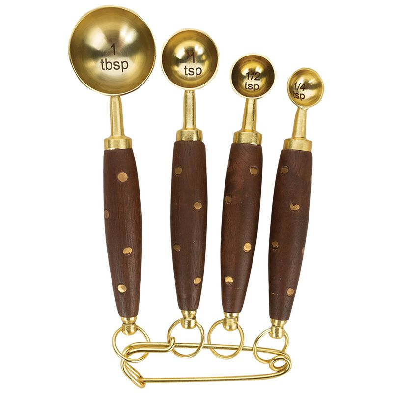 Wood & Brass Measuring Spoons -  brown-gold