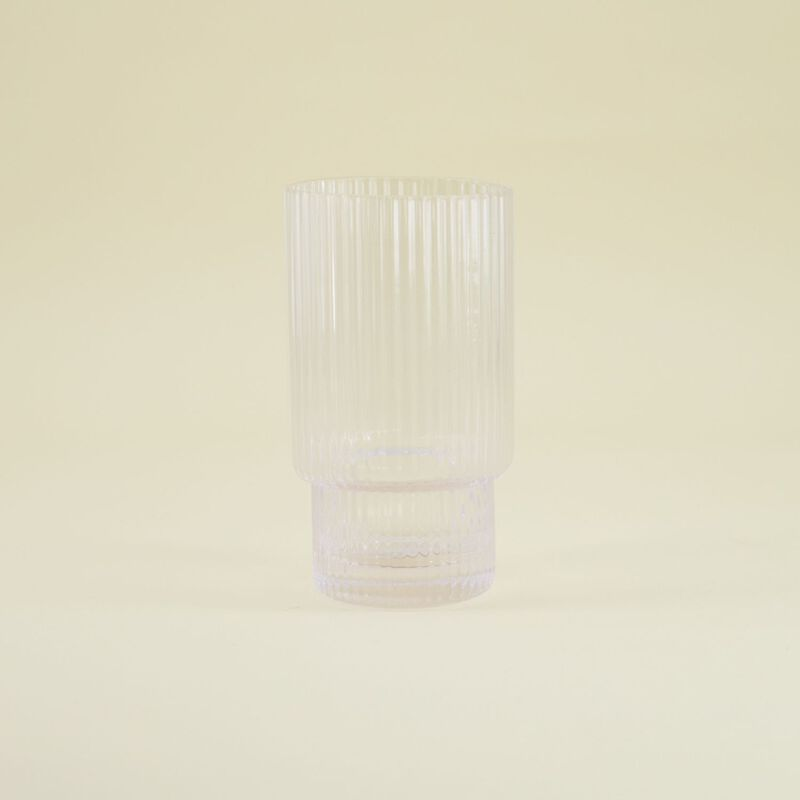 Tall Ribbed Glass -  dc0000