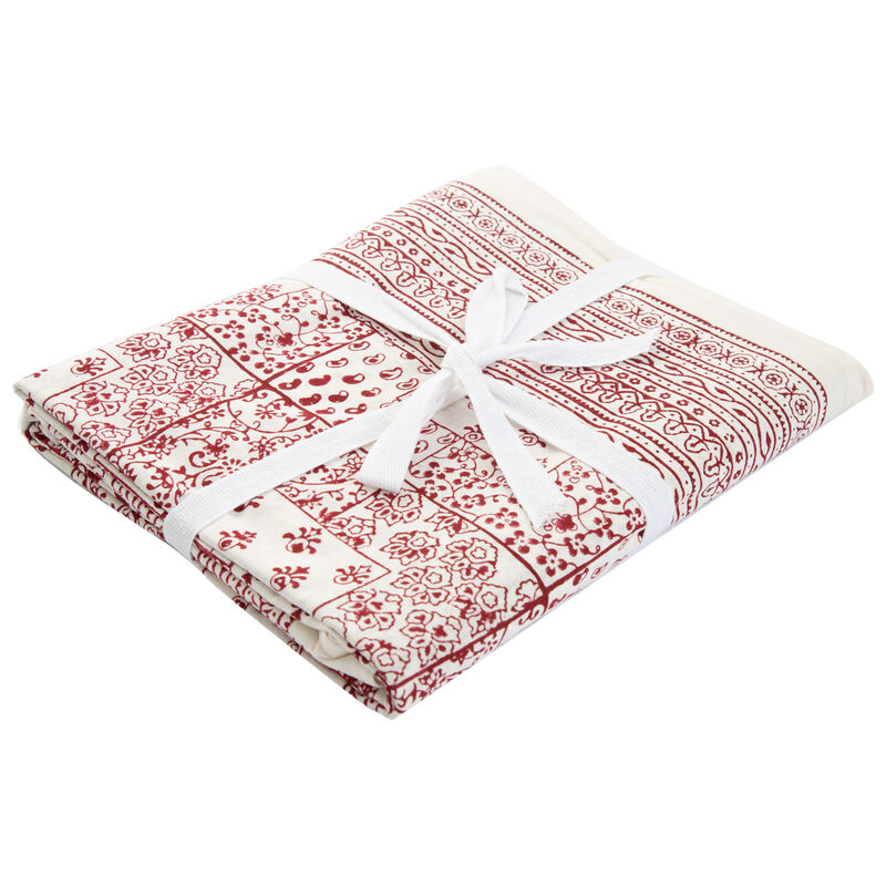 Red Patch Tablecloth -  red-white
