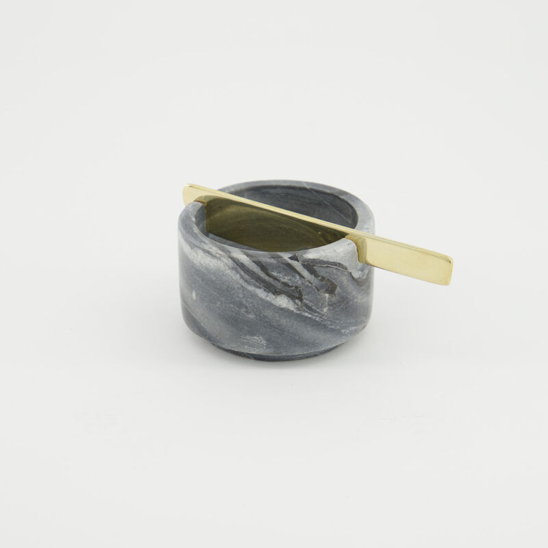 Marble Tapas Bowl With Brass Knife -  c02