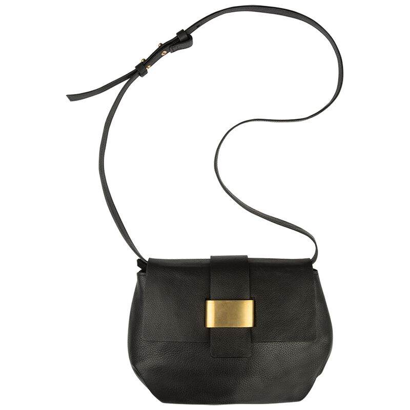 Myla Pleated Cross Body Bag -  black