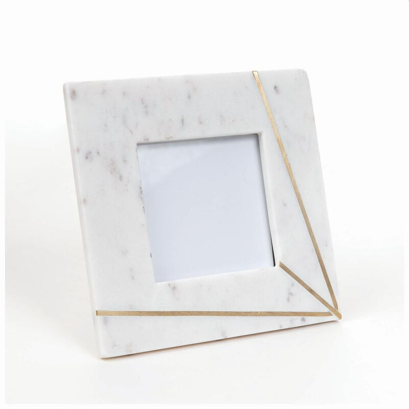 Marble and Brass Ray Frame -  white-gold