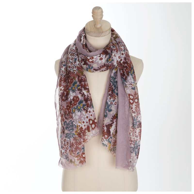 Chelsia Floral Scarf -  pink-teal