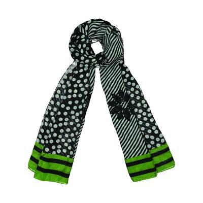 Freeda Dot and Stripe Silk Scarf