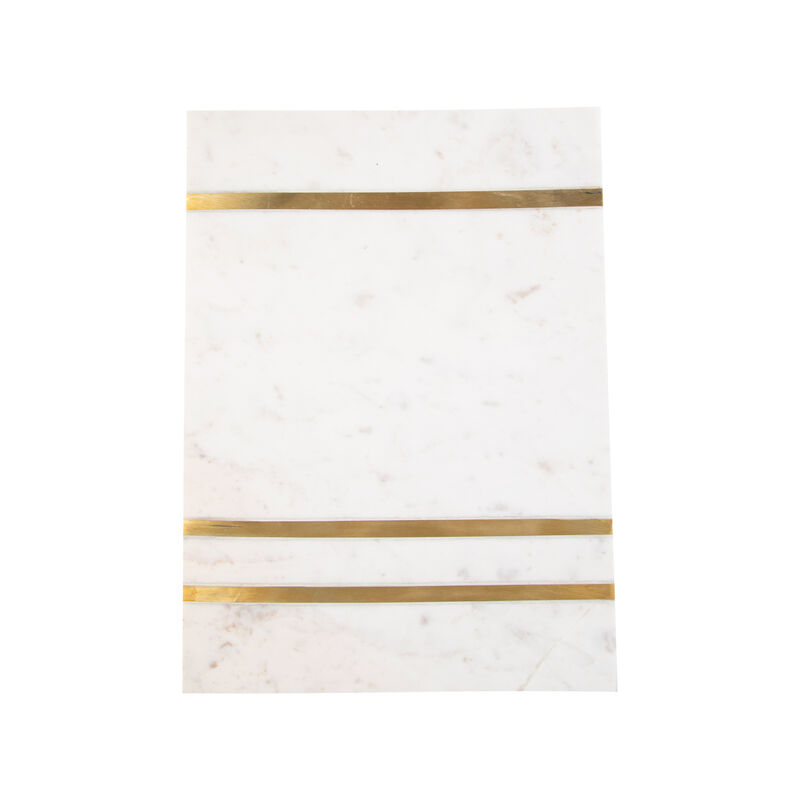 White Marble & Brass Serving Board -  white-gold