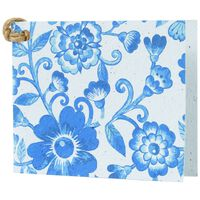 Blue Floral Growing Paper Tag -  white-blue