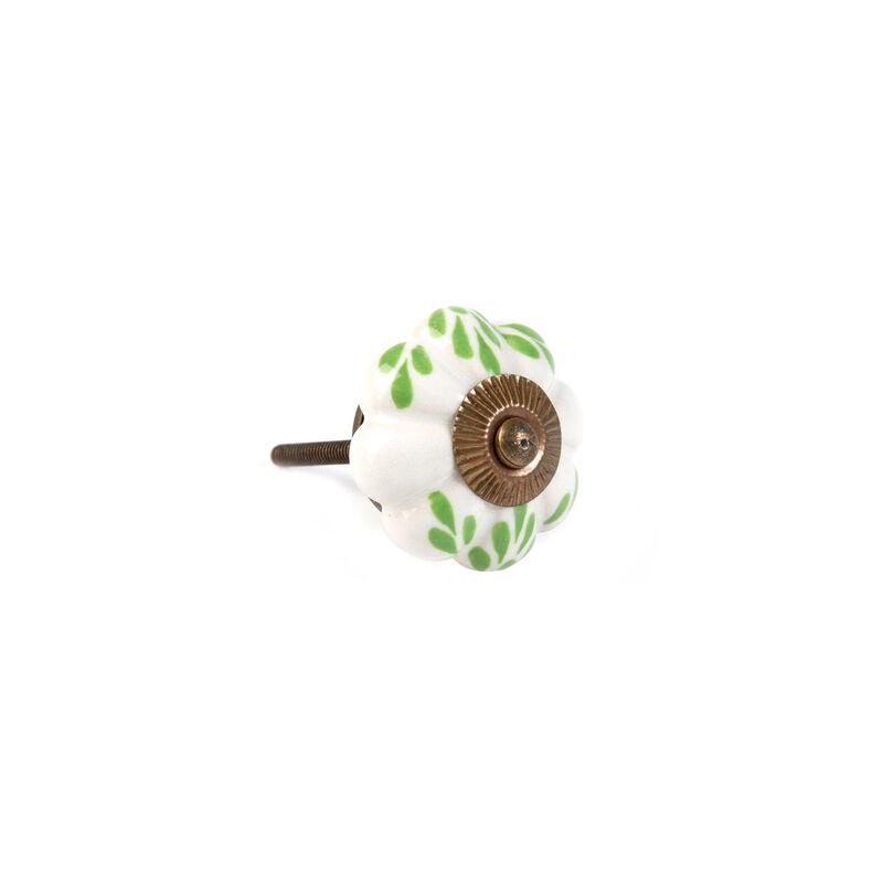 Green Leaf Melon Knob -  white-green