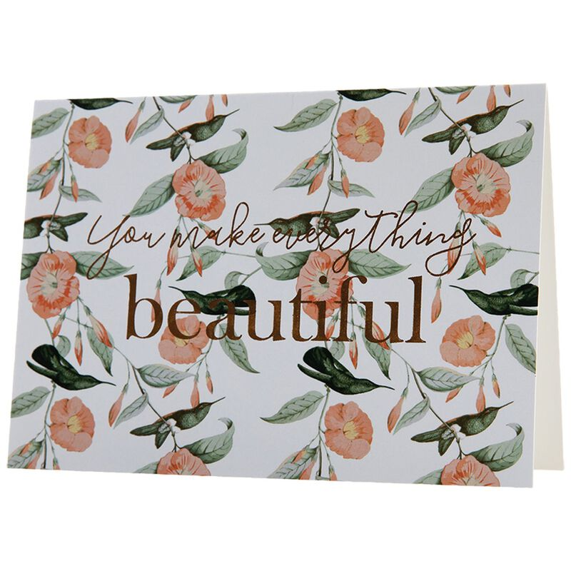 Love Letters You Make Everything Beautiful Card -  pink-green