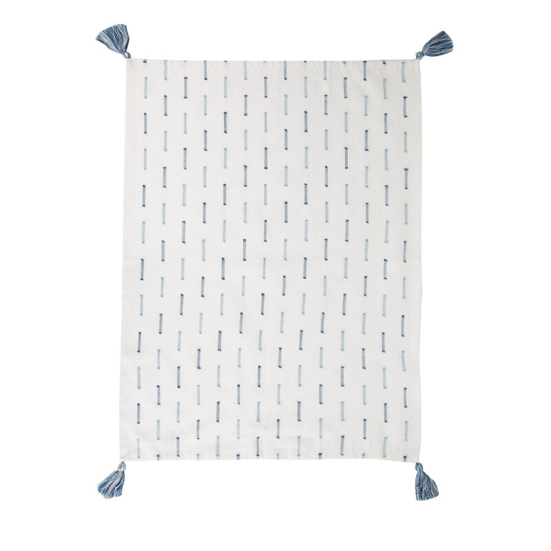 Blue Stitch Tea Towel -  milk-blue