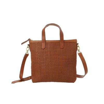 Colene Woven Leather Small Shopper