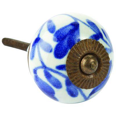Blue leaf round knob
